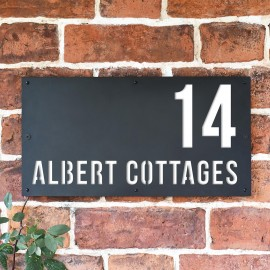 """""""Albert"""" House Sign Finished in White"""