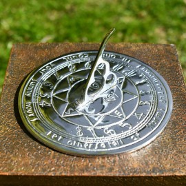 Bright Chrome compass point time piece for garden