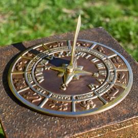 Antique Brass 'Horoscope' Sundial - 230mm