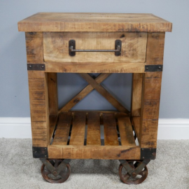 Front View of the Industrial Bedside Drawers With Wheels