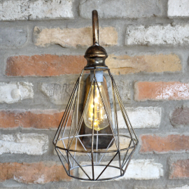Metal caged wall light