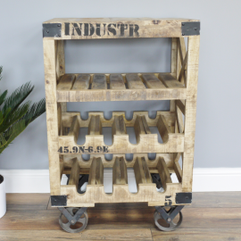 Industrial Crate Wine Trolley in the Home