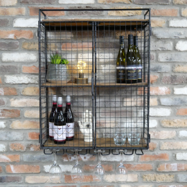 Industrial Wine Cabinet Cage  ion Situ on a Brick Wall