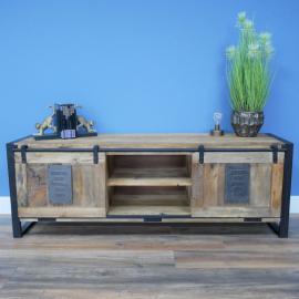"""Industrial """"Jupiter Iron Works"""" Wooden Sliding Door TV Cabinet in Situ"""