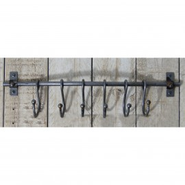 """16"""" Sliding Hook Coat Rack in a Natural Iron Finish"""
