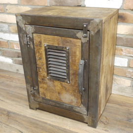 "Iron & Wood ""Safe"" Cabinet in Situ"