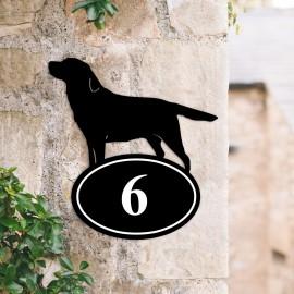 Bespoke Labrador Iron House Number Sign in Situ