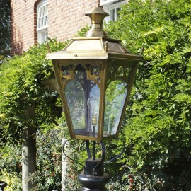 Large Antique Brass Gothic Lamp Post Top