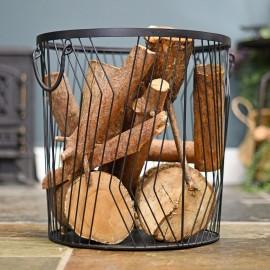 Large Art Deco Wire Log Basket in Situ