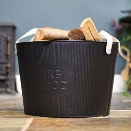 """Large Black """"Fire Wood"""" Log Basket"""