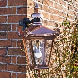 Large Copper Victorian Top Fix Wall Light On Corner Bracket