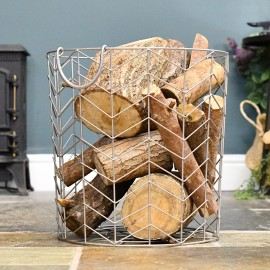 Large Pewter Finish Wire Work Log Basket