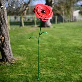 Large Red Poppy Garden Ornament