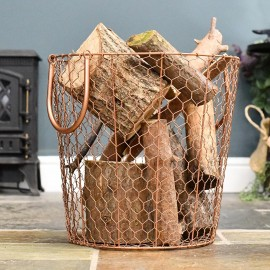 Rose Gold Wire Log Basket in Situ