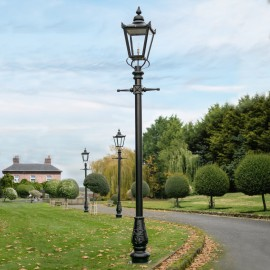 Large Victorian lamp post on driveway