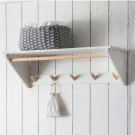 White Slatted Laundry Shelf with Hooks