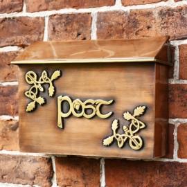 """Drustan"" Antique Copper and Brass Celtic Design Post Box"