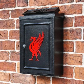Traditional Wall Mounted Post Box with Red Liver Bird Design