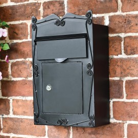Black Traditional wall mounted letter box