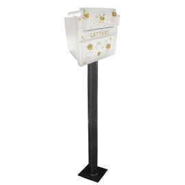 """""""Windsor Rose"""" White and Gold Post Box"""