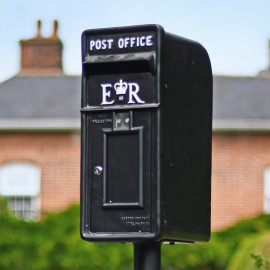 'Original Reproduction' Elizabeth Regina Post & Parcel Box Finished in Black  With White Text