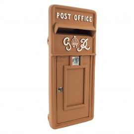 King George Rex Post Box Front - Rustic