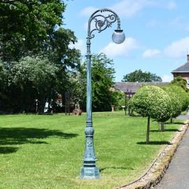 Antique Blue Ornate Cast Iron Globe Lamp Post