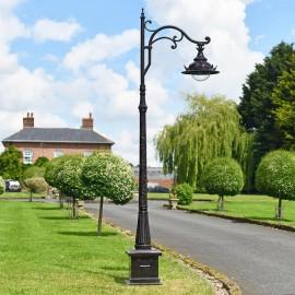 Antique Brown Ornate Gothic Cast Iron Lamp Post