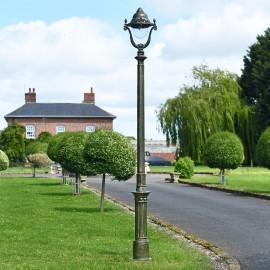 Olive Green Opulent Cast Iron Garden Lamp Post