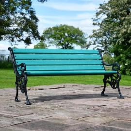 Simplistic Green Park Bench in Situ