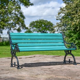Ornate Scroll Design Green Park Bench