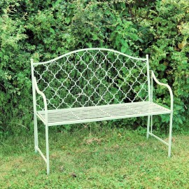 Traditional Garden Bench in a Light Green Finish