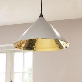 Light Matte Grey Conical-Shaped Hanging Pendant Light with Smooth Brass Interior
