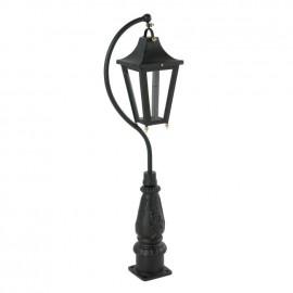 """""""Lincoln"""" Swan Neck Lantern & Lamp Post in Black"""