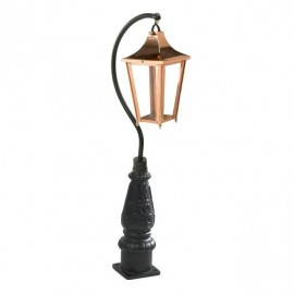 """Lincoln"" Swan Neck Lantern & Lamp Post in Copper"