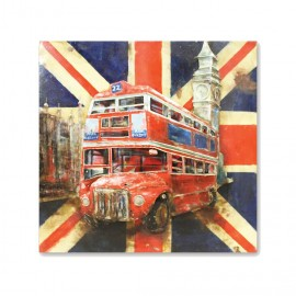 Wall Sign With Traditional British Flag Featuring A Red Bus & Big Ben