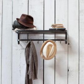Black Steel Luggage Rack & Hook Rail