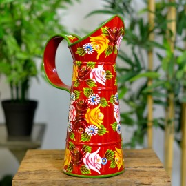 Small Red Traditional Hand Painted Jug in a Narrowboat Rose Design