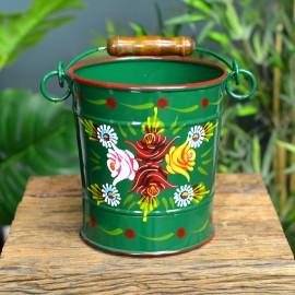 Medium Green Narrowboat Bucket in an Hand Painted Finish