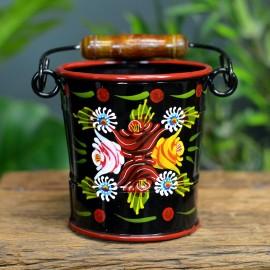 Small Black Hand Painted Narrowboat Bucket