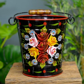 Narrowboat Hand Painted Bucket in a Black Finish