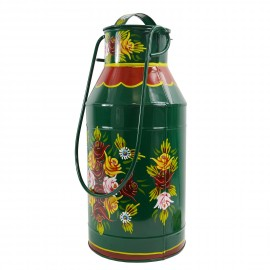 Large Green Narrow Boat Milk Churn with Floral Pattern