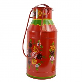 Large Red Narrow Boat Milk Churn with Floral Pattern