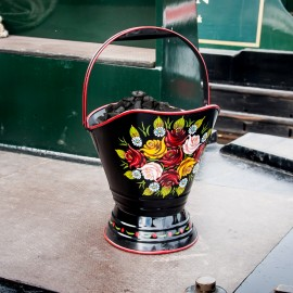 """""""Royal Avon Canal"""" Narrowboat Hand Painted Coal Scuttle in Black"""