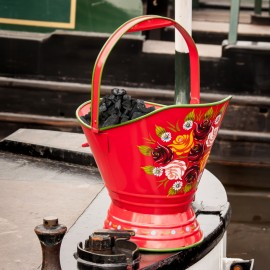 """""""Royal Avon Canal"""" Narrowboat Hand Painted Coal Scuttle in Red"""