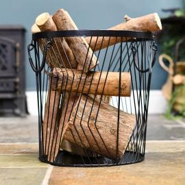 Medium Art Deco Wire Log Basket in Situ