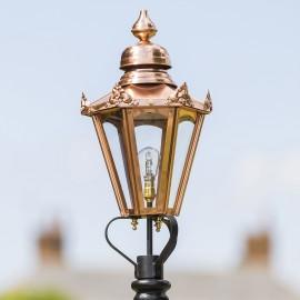 Medium Copper Hexagonal Lamp Post Top