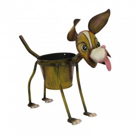 Brown Painted Dog Planter