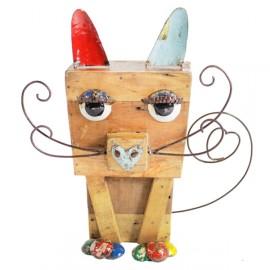 Metal & Wood Cat Garden Sculpture