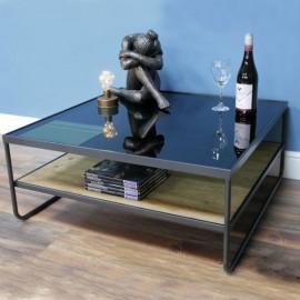 Modern Black Metal & Glass Coffee Table in Situ